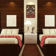 中式简约风格宾馆双人间装修效果图