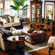 200平米别墅法式风格客厅原木家具装修效果图