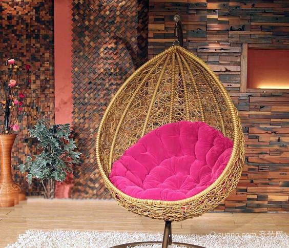 中式简约风格庭院小藤椅装修效果图