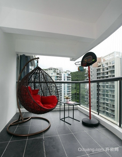 后现代风格小区高层阳台藤椅装修效果图