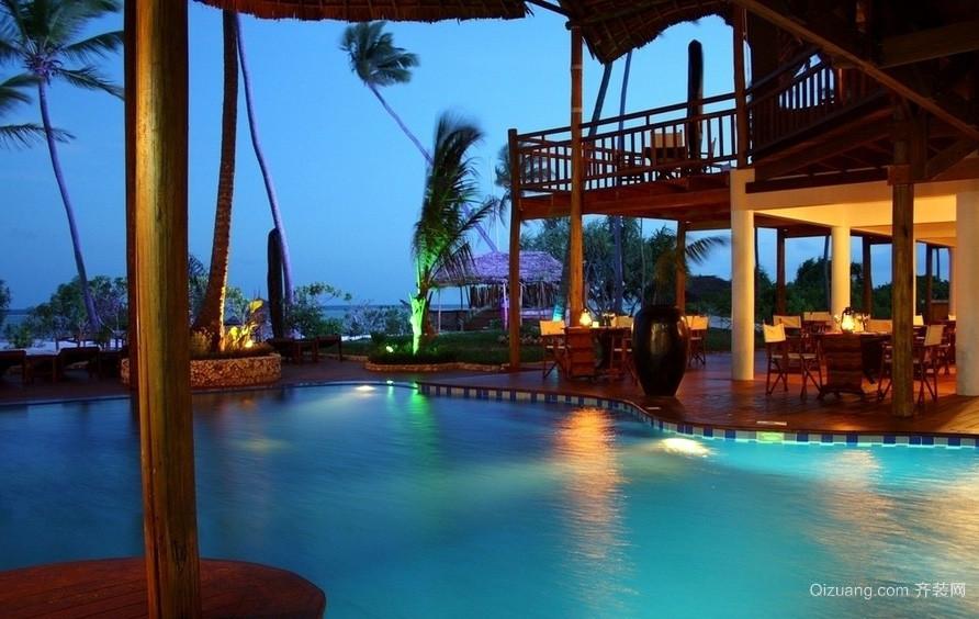 黄昏下大型度假酒店餐厅装修设计效果图
