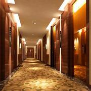 大型中式风格宾馆走廊过道装修效果图