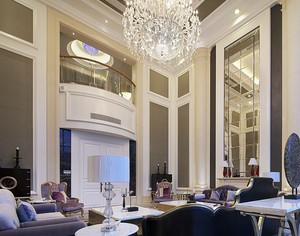 豪华复式楼客厅现代水晶吊灯效果图