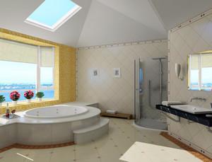 大型跃层欧式简约风格整体卫浴装修效果图