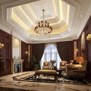 美式大别墅客厅现代水晶吊灯效果图