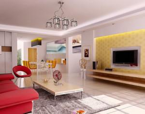 現代北歐風格大戶型客廳電視背景墻裝修效果圖