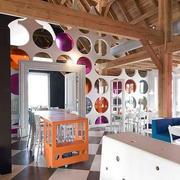 大型儿童餐厅原木吊顶装饰