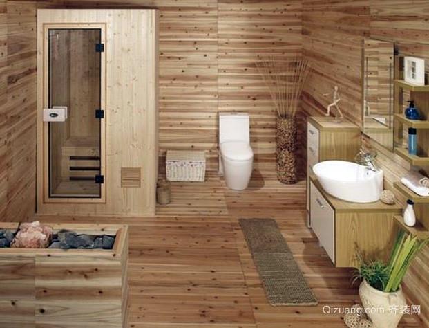 110平米日式简约原木卫生间装修效果图