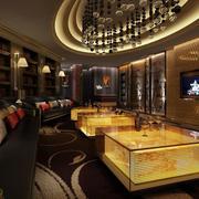 时尚现代酒吧大包厢水晶吊灯效果图