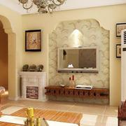 两室一厅欧式田园风格客厅印花背景墙装修