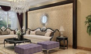 大户型客厅简约液体壁纸效果图