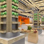 大型现代化水果超市原木置物架装修效果图
