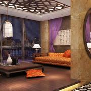 大户型东南亚风格深色系客厅茶几装修效果图