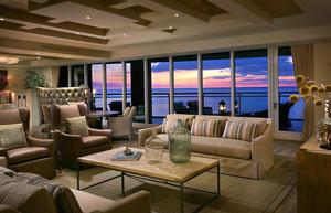 朴素唯美海景别墅客厅装潢设计效果图