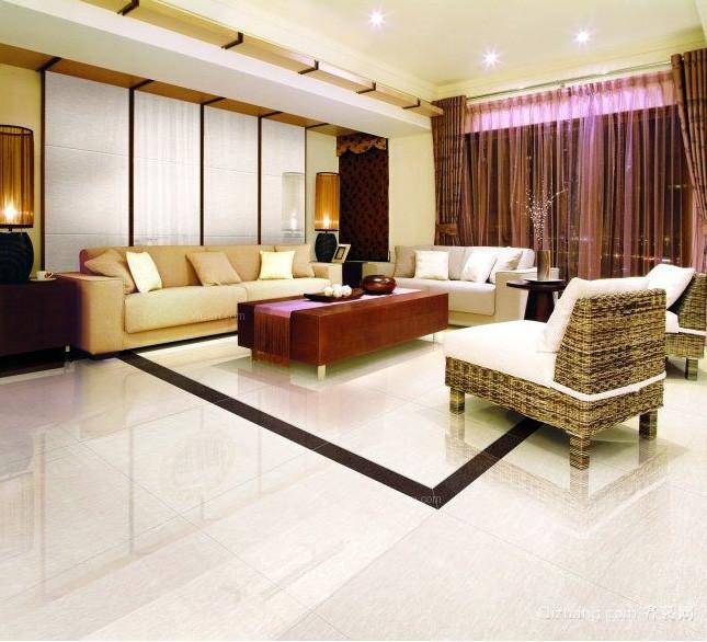 120平米都市三居室客厅抛光砖装修贴图