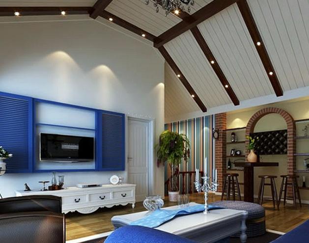 美式簡約風格斜頂閣樓客廳吊頂裝修效果圖
