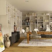 大户型现代精致的书房书架装修效果图鉴赏