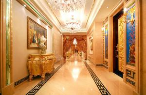 欧式奢华大别墅走廊抛光砖装修贴图