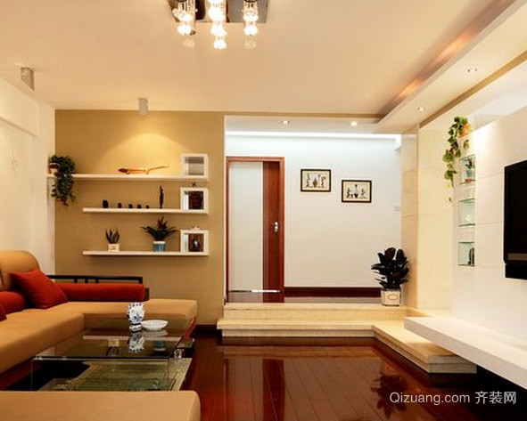 现代简约风格跃层客厅背景墙装修效果图