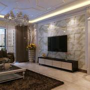118平米田园风格客厅背景墙装修效果图