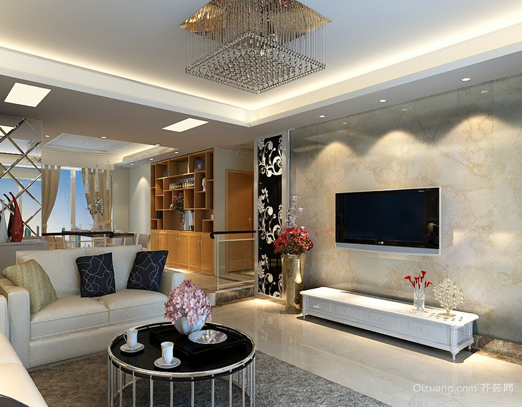 大户型欧式客厅硅藻泥背景墙装修效果图鉴赏