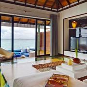 简美式海景别墅客厅装潢设计效果图
