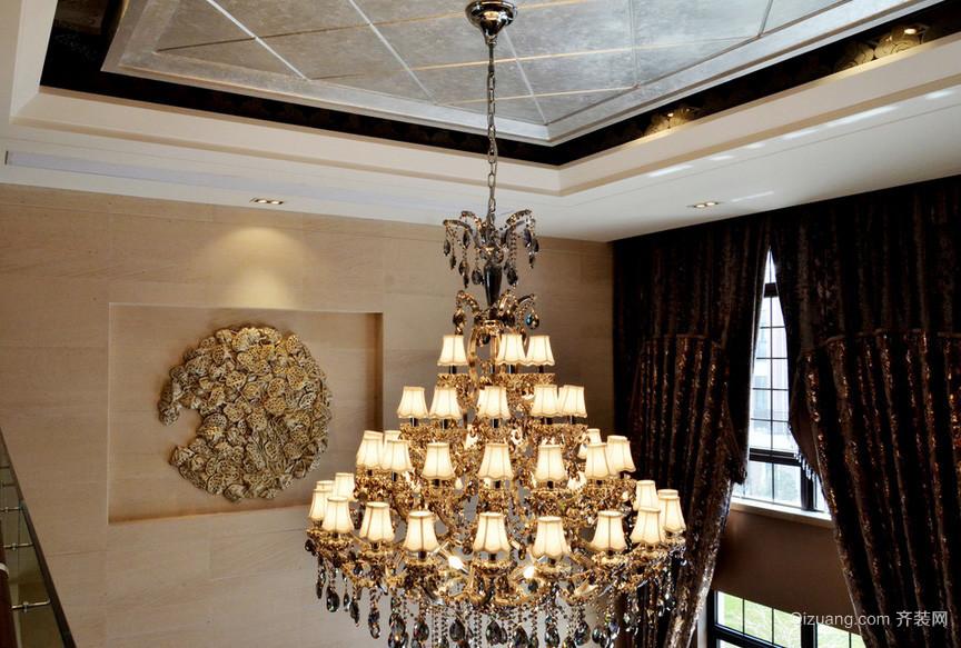 现代古典复式楼客厅水晶吊灯效果图