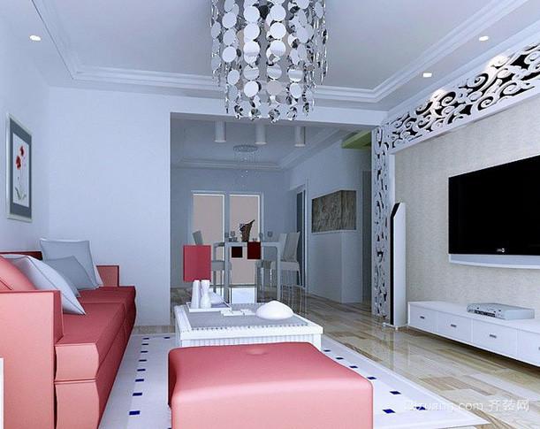 100平米现代简约风格冷色系客厅背景墙装饰