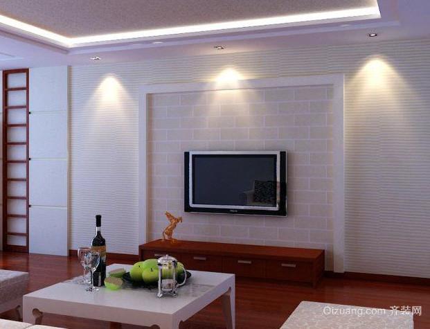 现代简约风格错层客厅电视背景墙装修效果图