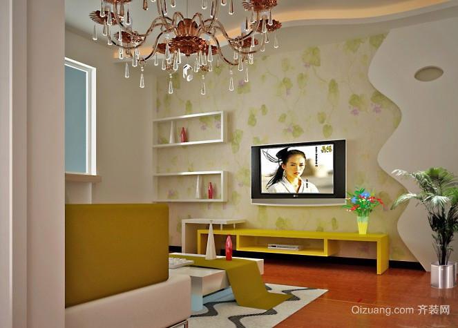 两室一厅现代简约风格客厅背景墙装修效果图