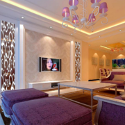 欧式大户型现代硅藻泥电视背景墙装修效果图