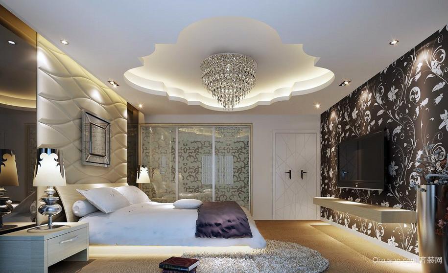 现代25平米卧室水晶吊灯装修效果图
