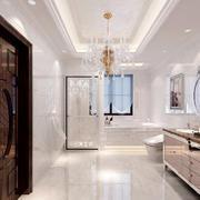 现代简约别墅卫生间水晶吊灯效果图