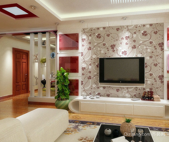 二居室唯美风格客厅背景墙装修效果图