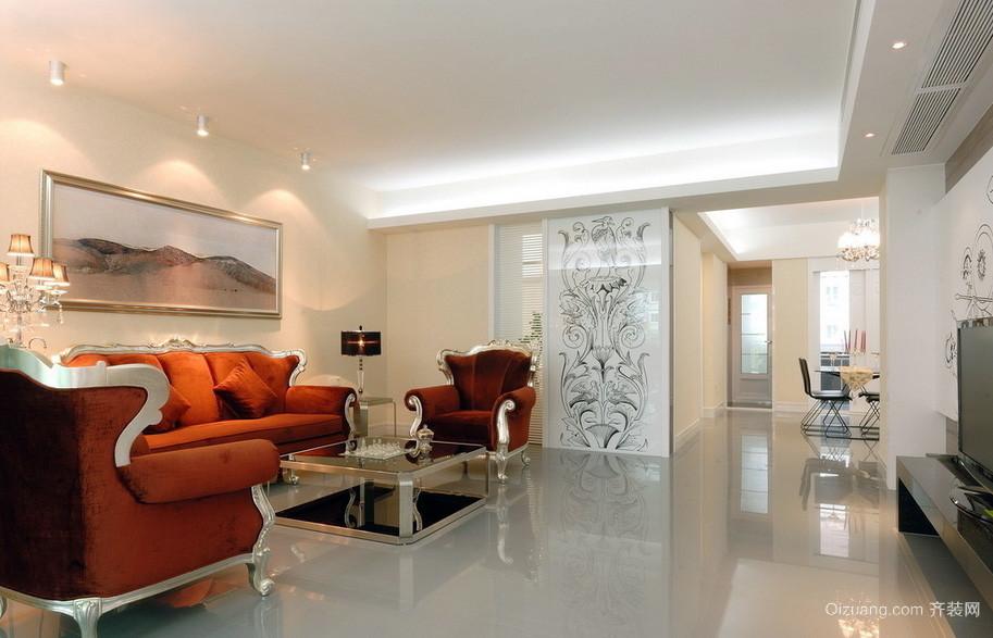 混搭风格大户型客厅抛光砖效果贴图