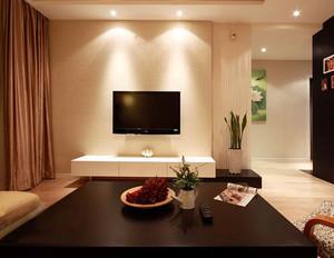 两室一厅后现代风格客厅硅藻泥电视背景墙装饰