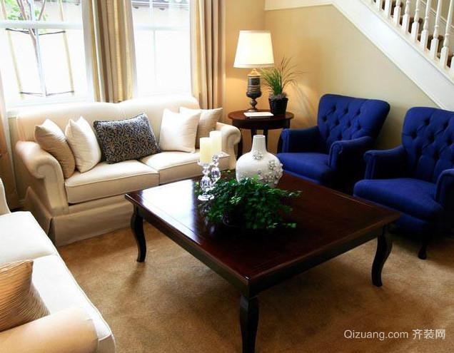 都市简约风格复式楼客厅茶几装修效果图