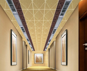奢华大户型酒店走廊铝扣板吊顶贴图