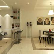 单身公寓韩式风格吧台设计装修效果图