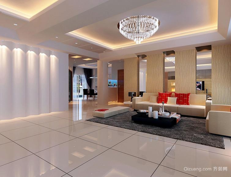 128平米暖色调客厅背景墙装修效果图