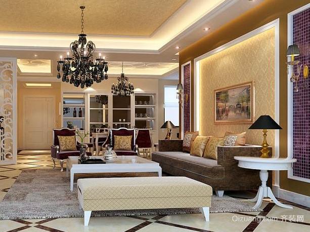 欧式简约风格精致客厅沙发背景墙装修图