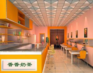 2016大型商场奶茶店装修效果图