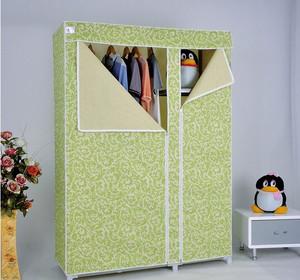 绿色60平米一居室卧室简易衣柜设计图