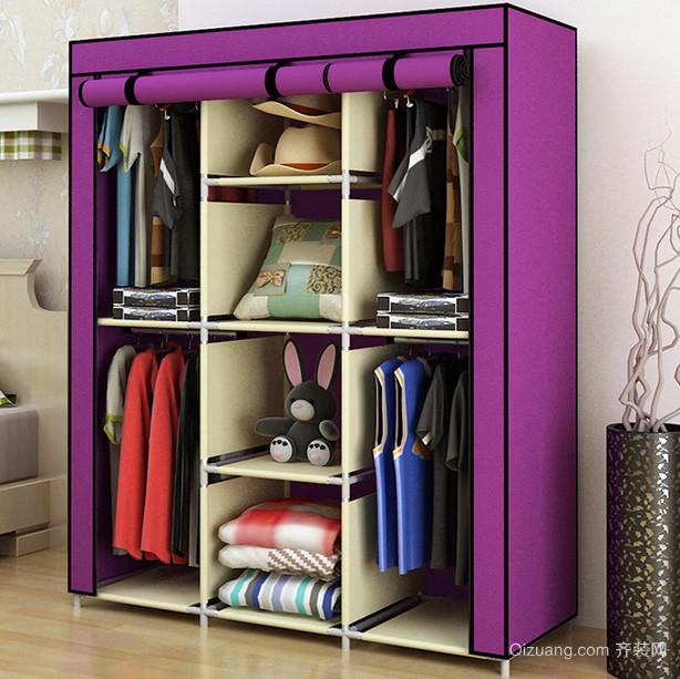 现代初中女生小卧室紫色简易衣柜设计图