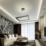 两室一厅后现代风格客厅沙发背景墙装修效果图