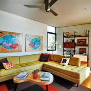 两室一厅东南亚风格沙发背景墙装修图