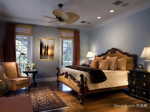 别墅美式复古风格卧室装修效果图