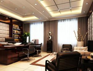 中式风格奢华大气深色办公室窗帘装修效果图