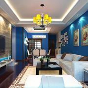 地中海122平米三居室客厅背景墙效果图片