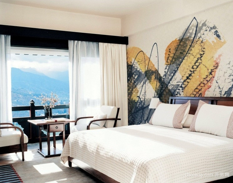 简约海景房卧室室内墙绘设计效果图